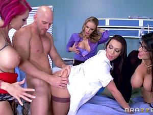 Lucky man was ambushed by four mature busty pornstars Anna Bell Peaks, Nicole Aniston and others