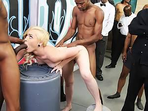 Sweet Cum dumpster blonde takes twenty black cocks in her holes