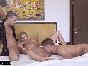 Hot blonde by her husband and another stud
