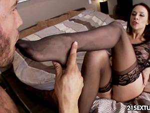 Classy Chanel Preston pleases cock with her feet and mouth